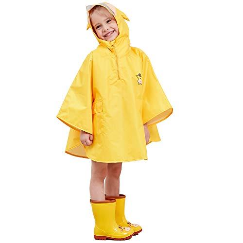 LIVACASA Regenponcho Unisex Wasserdicht Atmungsaktiv Regenmantel Leicht Hautfreundlich Regenbekleidung Regen Overall Regencape Regenjacke Slicker mit Tasche für Mädchen Jungen Gelb M