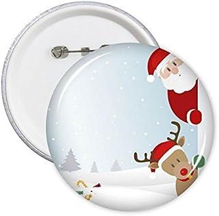 DIYthinker Père Noël Elk Peep Joyeux Noël Bonne année Fête Motif Illustration ronde Pin Badge Bouton 5Pcs S