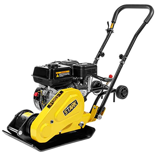 Stark Pro-Series 6.5HP Walk Behind Plate Compactor Gas Vibration Compaction Force 2,360Lbs Force w/Built-in Wheel