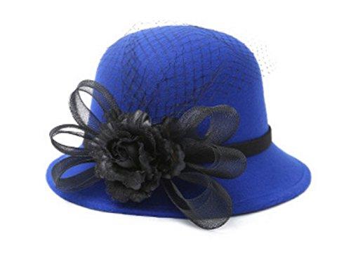 Women Warm Wool Felt Church Cloche Cap Bucket Hat Bowler Hats with Flower Trim Blue