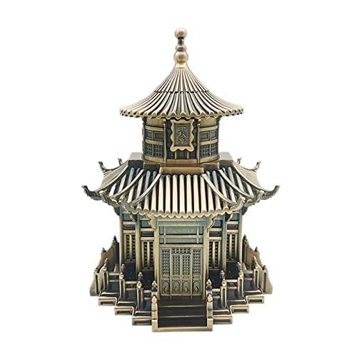 QLIGHA Retro Zahnstocher Box Chinesische Antike Architektur Kreative Automatische Pressen Zigarettenschachtel Wohnzimmer Esstisch Hotel Bronzelegierung Zahnstocherhalter Dekoration