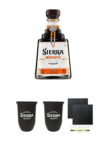 Sierra Milenario Cafe Neue Aufmachung 0,7 Liter + Sierra Tequila Tonbecher 0,4 Liter + Sierra Tequila Tonbecher 0,4 Liter + Schiefer Glasuntersetzer eckig ca. 9,5 cm Ø 2 Stück