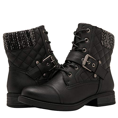 GLOBALWIN Women's Black Ankle Booties Fashion Combat Boots 8.5M