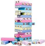 Juego de Torre Torre de madera para niños 4 en 1 con animales y colores - Juego de la Junta Familia para niñas, niños de 3 a 9 años de edad, juguetes educativos que desarrolla habilidades cognitivas p