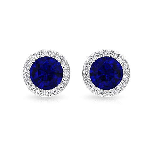 Rosec Jewels 10 quilates oro rosa redonda Round Brilliant Blue Zafiro difuso Moissanite