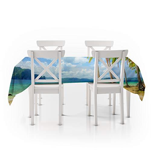 Tafelkleed Rechthoekig Groen, 3D Digitaal printen, Zomer aan zee, Duurzaam tafelkleed Polyester Waterdicht, Eettafelhoes, Handwas Geschikt voor keuken