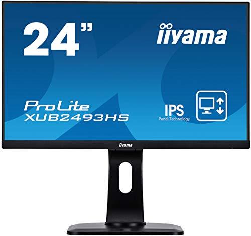 Iiyama iiyama Prolite XUB2493HS-B1 60,47cm (23,8 Zoll) IPS LED-Monitor Full-HD (VGA, HDMI, DisplayPort, Ultra-Slim-Line, Höhenverstellung, Pivot) Schwarz