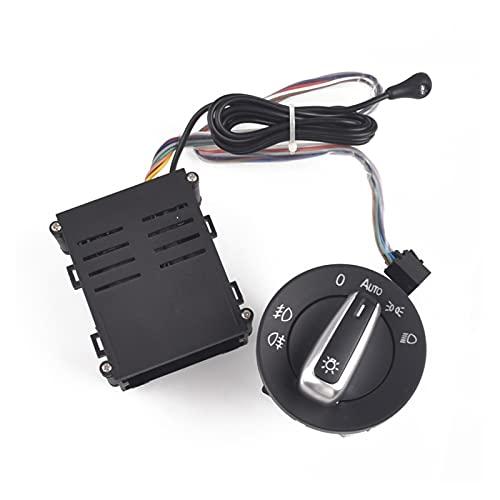 binbin Coche Chrome Light Switch Auto Lámpara Sensor Light Fit for VW Golf 4 Mk4 New Jetta Mk4 Passat B5 Polo Bora Beetle 3BD 941 531 + Auto