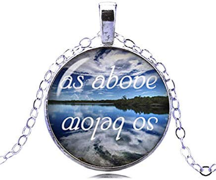 As Above So Below Necklace Glass Dome Pendant Occult Jewelry for Men and Women