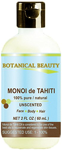 MONOI DE TAHITI OIL 100% Pure / Natural. Cold Pressed / Undiluted / Virgin / Unscented /Polynesia Original Guarantee. For Face, Hair And Body. (2 Fl.oz.- 60 ml) By Botanical Beauty
