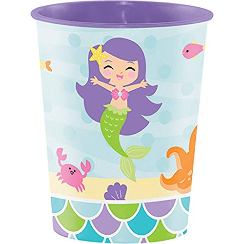 Creative Converting Disposable Mermaid Friends Cup, Party Supplies, 16 oz, Multicolor, 1ct