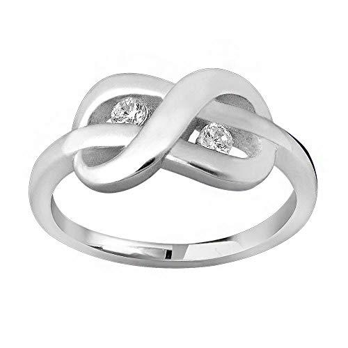 MATERIA Schmuck Damen Ring Unendlichkeit Schleife silber - 925 Silber Ring Zirkonia weiß inkl. Ring Box #SR-38, Ringgrößen:62 (19.7 mm Ø)