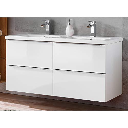 Lomadox Badmöbel Waschtisch-Unterschrank inkl. Doppel-Waschtisch 120cm aus Keramik, Hochglanz weiß, mit Soft-Close