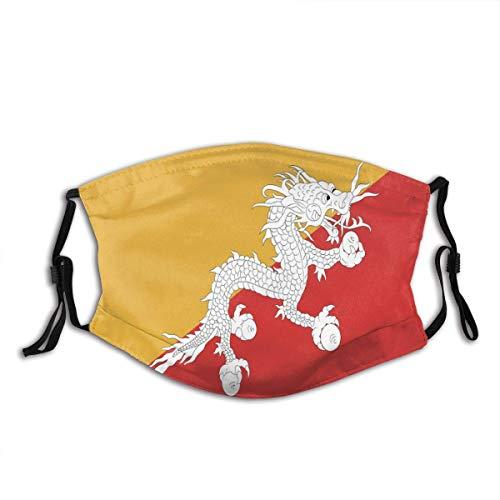 Flagge Bhutan, genaue Maße, Elementproportionen, Unisex, waschbar und wiederverwendbar, Baumwolle, warmer Gesichtsschutz für den Außenbereich, 3 Stück