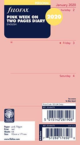 Filofax Kalendereinlage Personal 1 Woche auf 2 Seiten (englisch)2020 Rosa
