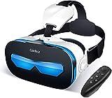 Canbor VR ゴーグル スマホ VRヘッドセット iPhone android VRグラス 3D メガネ 動画 ゲーム コントローラ リモコン 4.0-6.3インチのスマホ対応 黒