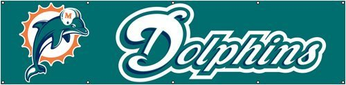 Party Animal Sports Team Logo Miami Dolphins Giant 8' x 2' Banner by Party Animal