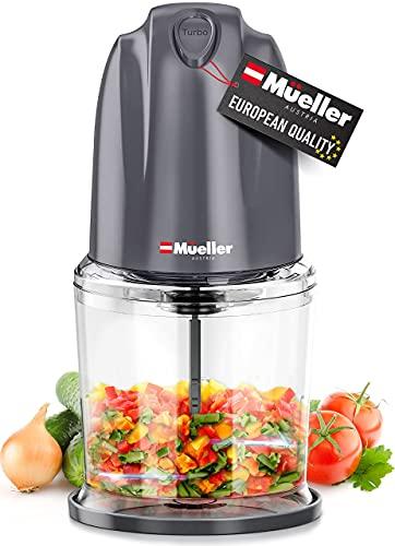 Mueller - Batidora de cocina eléctrica para verduras, frutas, frutos secos, carnes y puré, 2 cuchillas de acero inoxidable y batidor...