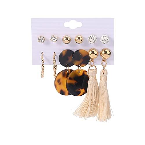 Pendientes de aro para niñas, diseño de leopardo, con forma redonda, con borla, circonita