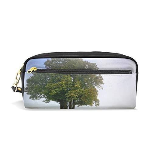 JinDoDo PU Leder Federmäppchen Baum Bank Fog Park Herbst Studenten Stifttasche Kosmetiktasche Aufbewahrungstasche für Männer Frauen