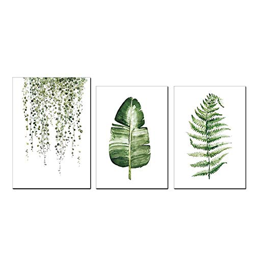 Cikonielf 3 Unids/Set Cuadro De Pintura De Canva Material De Canva Estilo Rural Plantas Verdes Decoración Moderna del Dormitorio De La Sala De Estar
