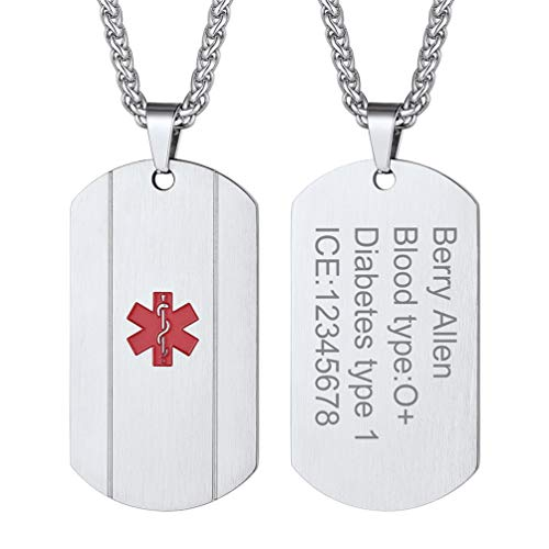 PROSTEEL Medical Alert ID Necklace Men Women Personalized Custom Engrave Dementia Diabetic Emergency Contact Stainless Steel Engraved Dogtag Pendant Necklace