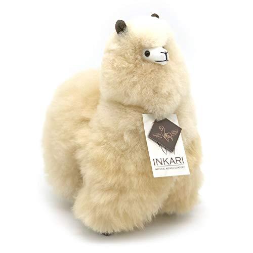 Alpaka Stofftier, super Flauschiges Kuscheltier aus echter Alpaka-Wolle, handgefertigte Unikate, fair und nachhaltig produziert, großes Plüschtier, hypoallergen (M (32cm), Blond)