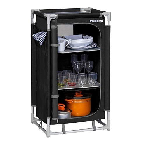 BERGER Küchenbox S, schwarz/grau, 3 Staufächer, Alu Campingschrank, Maße B 58 x H 104 x T 47,5 cm, Aufbauschrank
