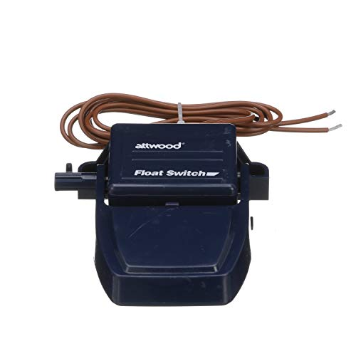 Attwood 4202-7 Float Switch, For Bilge Pump, 12- and 24-V CE rated, 36-Inch Wire, 4 ¼ Inches L x 3 7/8 Inches W x 1 3/8 Inches H