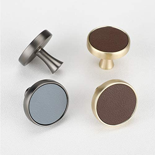 Pack of 20 goldenwarm Satin Nickel Blue Faux Cabinet store Leath Knobs Ranking TOP16