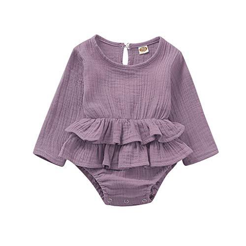 Weilov Vêtements D'automne Et D'hiver, Jumpsuit à Manches Longues Pour Filles Monochrome Infant Romper Body Body Confortable Casual Jumpsuit