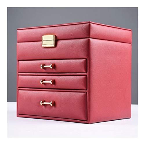 YYDS Capa 4 del cajón de la joyería Caja de almacenaje del Organizador del sostenedor de la exhibición de la joyería joyero de Cuero de la PU de la Pulsera del Collar del Pendiente del Anillo, Rojo
