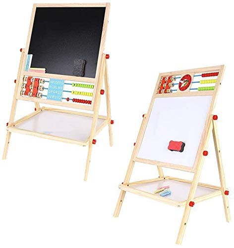 Brigamo 2in1 Standtafel Zeichentafel & Magnettafel, Tafel für Kinder mit Uhr, Abacus und Ablage