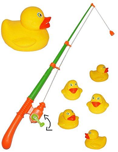 alles-meine.de GmbH 2 Set´s - großes Angelspiel - WASSERFEST - mit je 5 großen Enten - drehbare Angel - Entenangeln für Kinder - Angeln mit Magnet - Badewanne Spiel Fischeangeln ..