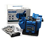Electric Knife Sharpener Multi-Functional with 3 Abrasive Wheel and a Pair of Cut-Resistant Glove Adjustable Angle Button Grinding Tool Use for Chisel, HSS Drill Scissor, Slotted Screwdriver by MAXMAN