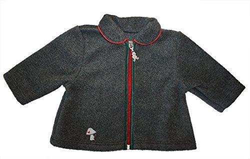Carlina - Trachtenjacke Fleece Baby Mädchen Jungen Jacke 506110 PILZ in anthrazit Größe 62