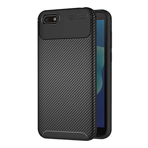 AICEK Compatible Huawei Y5 2018 Hülle, Schwarz Silikon Handyhülle für Huawei Y5 2018 Schutzhülle Karbon Optik Soft Hülle (5,45 Zoll)