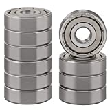 XiKe 10 Pcs 628ZZ Double Metal Seal Bearings 8x24x8mm, Pre-Lubricated and Stable Performance and Cost Effective, Deep Groove Ball Bearings.