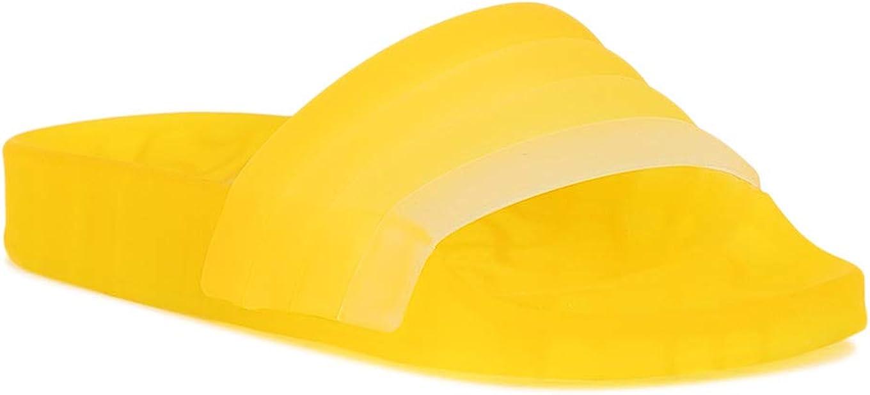 Alrisco Women Colored Translucent PVC Slide Sandals RG06 - Yellow PVC (Size: 5.0)