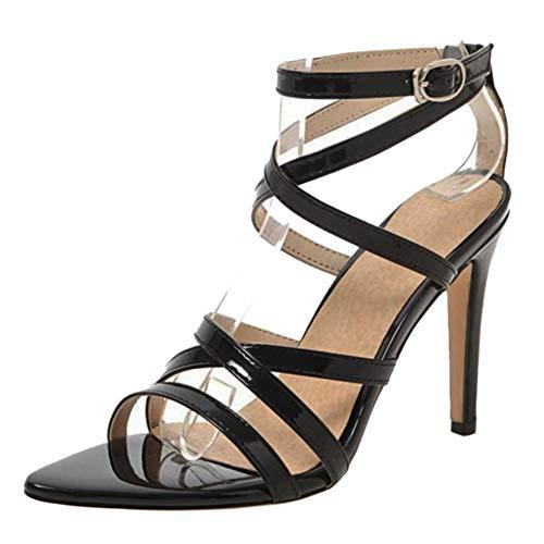NIGHT CHERRY Damen Mode Hohe Ferse Sandalen Knöchelriemchen Black Size 44 Asiatisch