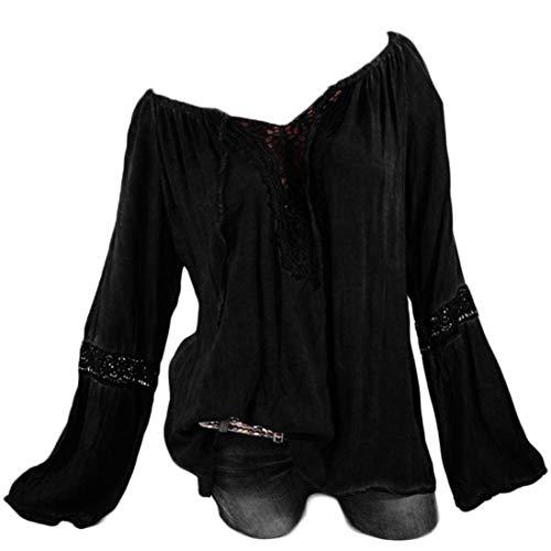 Damen Langarmshirt Carmen Häkeleinsatz Tunika Mit Bluse Mit Spitzenapplikation Mode Marken Langärmeliges T Shirt Mit Lochstickerei V Ausschnitt Shirt Größe Größe (Color : Schwarz, Size : 3XL)