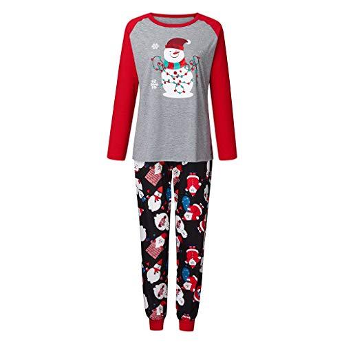 FELZ Pijamas de Navidad para la Familia, Navidad Mangas Largas Cuello Redondo Muñeco de Nieve Impreso Tops + Pantalones Largos Sudadera Invierno Conjunto de Pijamas Familiar para Dad Mom Niños Bebé
