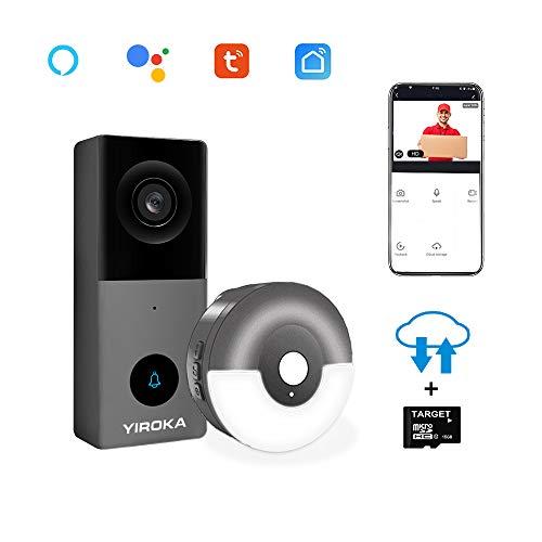 Yiroka Video Türklingel mit Kamera 2 Draht, kompatibel mit Alexa, HD 1080P, Cloud-Speicher, Max. 128 GB SD-Karte, 2,4 G WiFi, IP55 wasserdicht, mit Bewegungsmelder, mit Nachtlichtempfänger, Grau