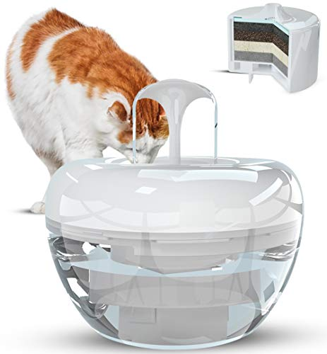 PARADING PETS WHITE Water Fountain for Cats, Dogs, Pets, Birds and Small Animals – Hygienic Drinking Water Dispenser with Patented Design and 5-Layer Filtering System – Includes 1 Filter