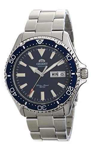 ORIENT Reloj de buceo para hombre, automático, 200 m, con esfera azul, pulsera de acero, RA-AA0002L