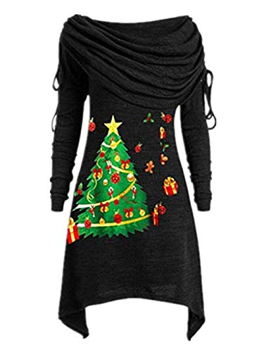 SUMTTER Longpullover Damen Oversize Pullover Asymmetrisch Sweatshirt Große Größen Frauen Kleidung Weihnachten Sale
