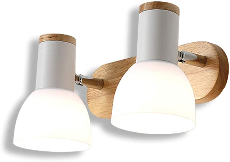 GaoHX Spiegel frontleuchte Bad E27 Schlafzimmer Nacht massivholz Wandleuchte einstellbare Winkel schminktisch badezimmerspiegelschrank Make-up Lampe (Farbe   A-Weiß Double Head 30  15CM)
