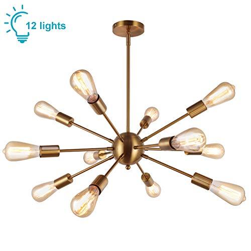 Lightess Sputnik Licht Kronleuchter Modern Gold Sputnik Pendelleuchte Vintage 12 Flammig Hängelampe Industrial Loft E27 Hängeleuchte Metall für Esszimmer Wohnzimmer Schlafzimmer Esstisch Küche