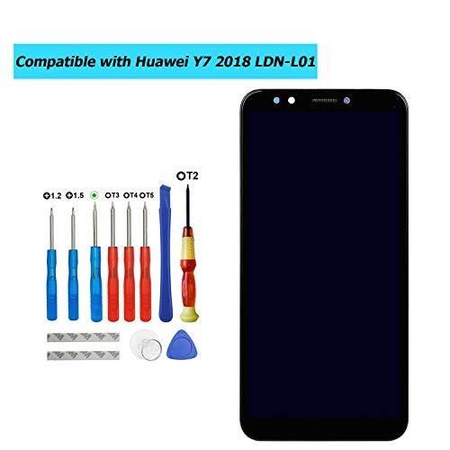 Upplus Vervangend LCD-scherm Compatibel met Huawei Y7 2018 LDN-L01 LDN-LX3/Y7 Prime 2018 LDN-L21 LDN-LX2 LDN-TL10/Y7 Pro 2018/Nova 2 Lite Onderdelen Reparatie Display LCD Touch Screen met frame + Toolkit (Zwart)