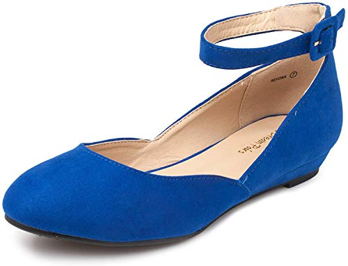 DREAM PAIRS Women's Revona Royal Blue Low Wedge Ankle Strap Flats Shoes - 8.5 B(M) US